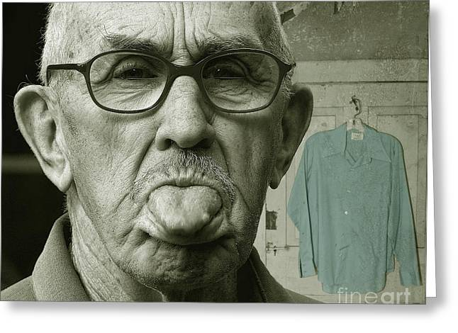 Greeting Card featuring the photograph Dirty Blue Shirt by Jan Piller
