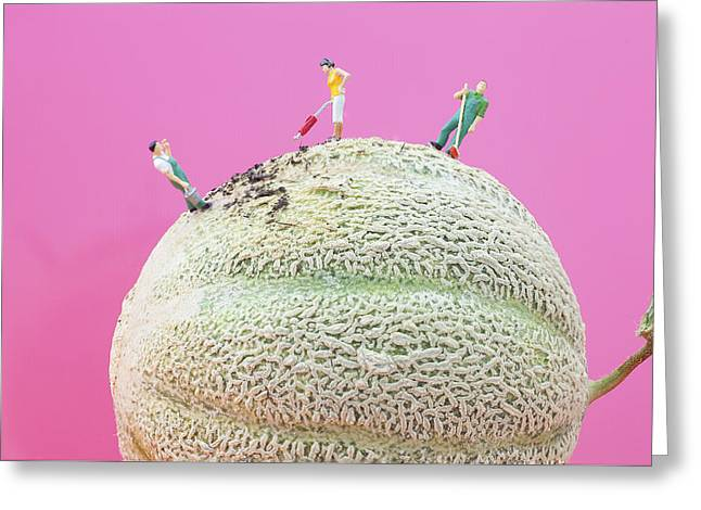Dirty Cleaning On Sweet Melon II Little People On Food Greeting Card by Paul Ge