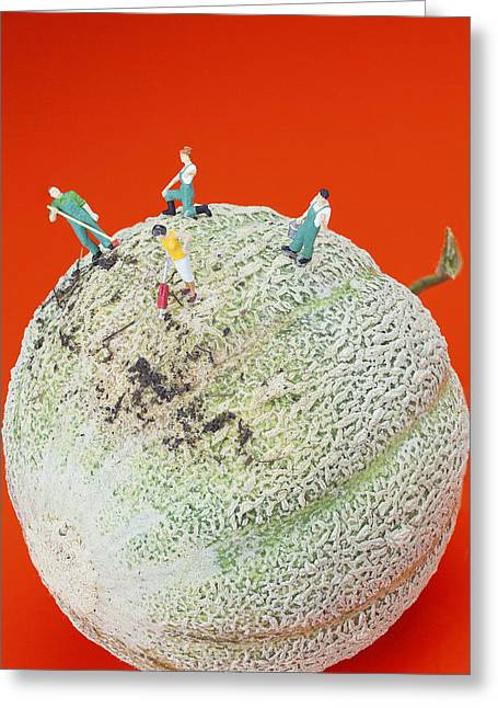 Dirty Cleaning On Sweet Melon Little People On Food Greeting Card