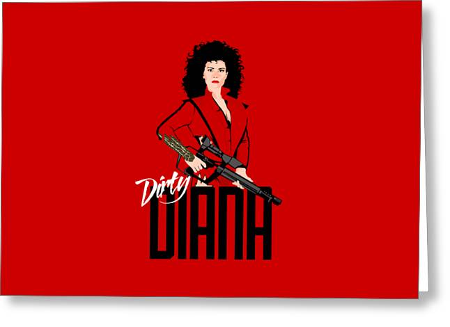 Dirty Diana Greeting Card by Mos Graphix