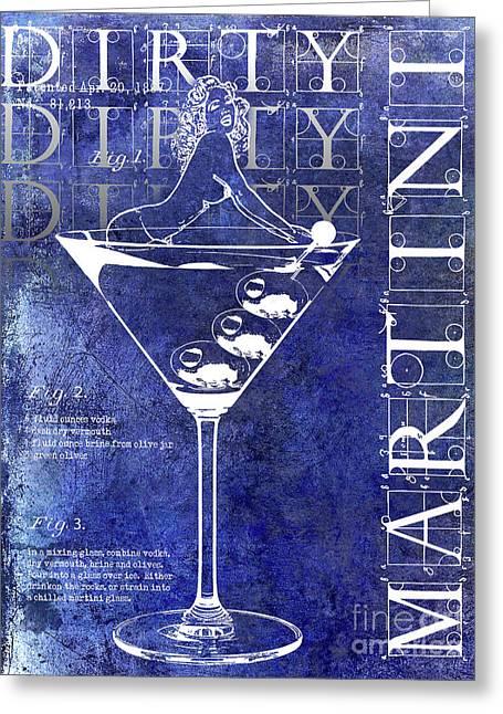 Dirty Dirty Martini Patent Blue Greeting Card by Jon Neidert