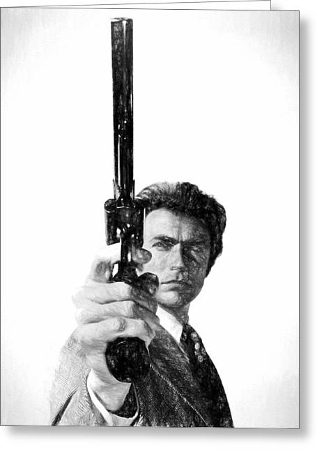 Dirty Harry Charcoal Greeting Card by Dan Sproul