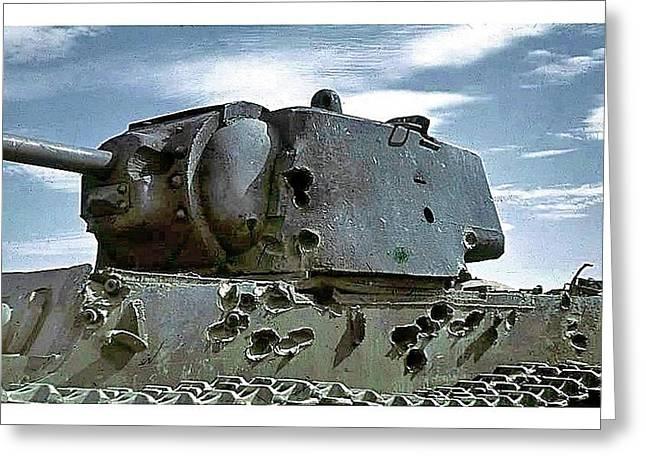 Disabled German Panzer Battle Of Stalingrad Number 1 1942 Greeting Card by David Lee Guss