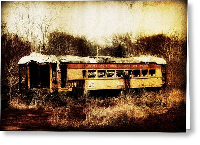 Discarded Train Greeting Card by Julie Hamilton