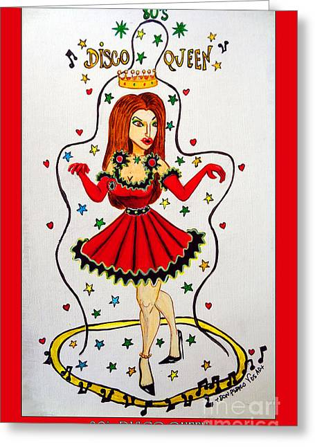 Greeting Card featuring the painting Disco Queen 80's by Don Pedro De Gracia
