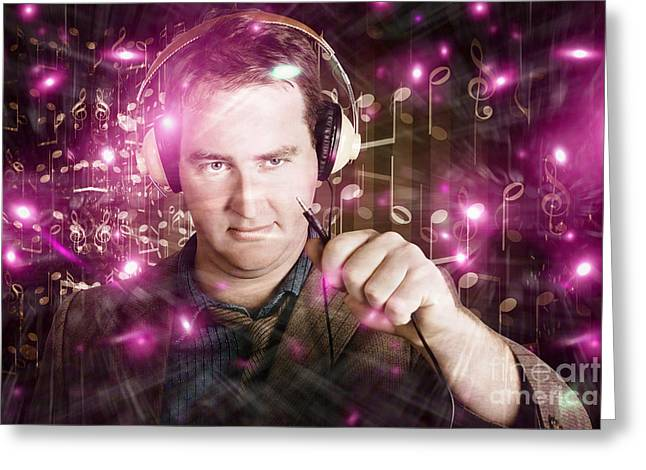 Disconnected Male Dj Holding Unplugged Audio Jack Greeting Card