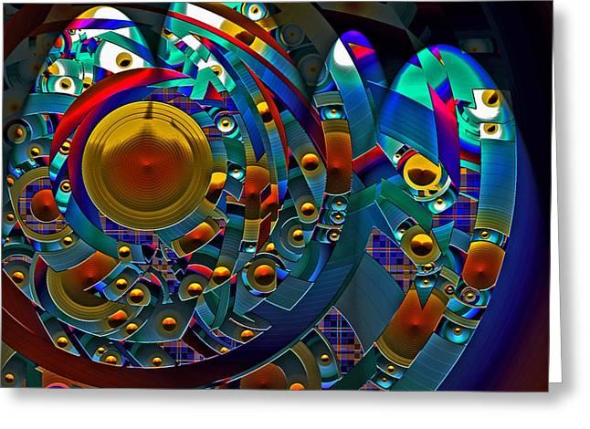 Greeting Card featuring the digital art Discopolis by Lynda Lehmann