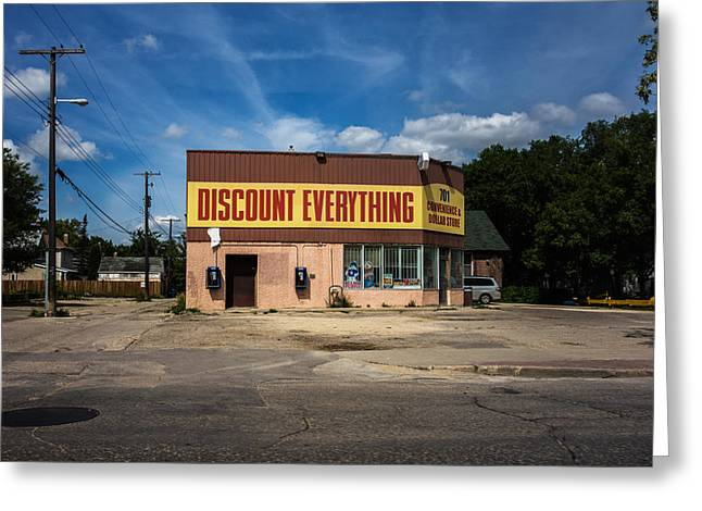 Discount Everything Greeting Card by Bryan Scott