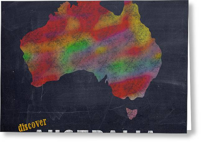 Discover Australia Map Hand Drawn Country Illustration On Chalkboard Vintage Travel Promotional Post Greeting Card by Design Turnpike