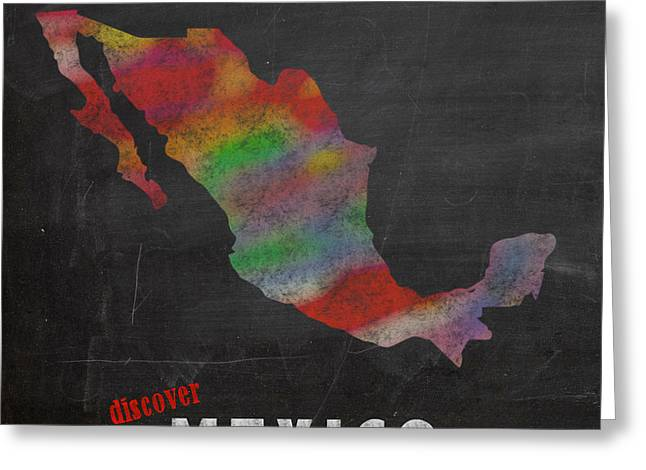 Discover Mexico Map Hand Drawn Country Illustration On Chalkboard Vintage Travel Promotional Poster Greeting Card by Design Turnpike