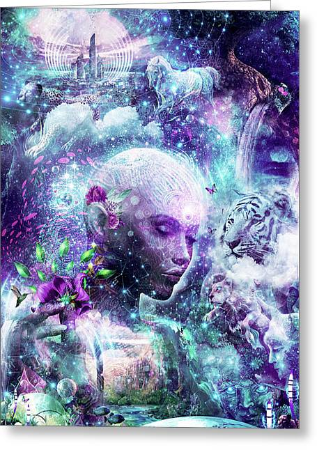 Discovering The Cosmic Consciousness Greeting Card by Cameron Gray