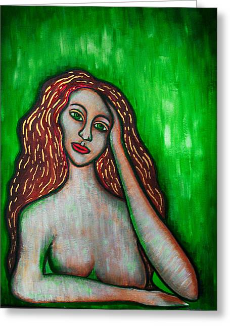Discrete Contemplation-green Greeting Card by Brenda Higginson