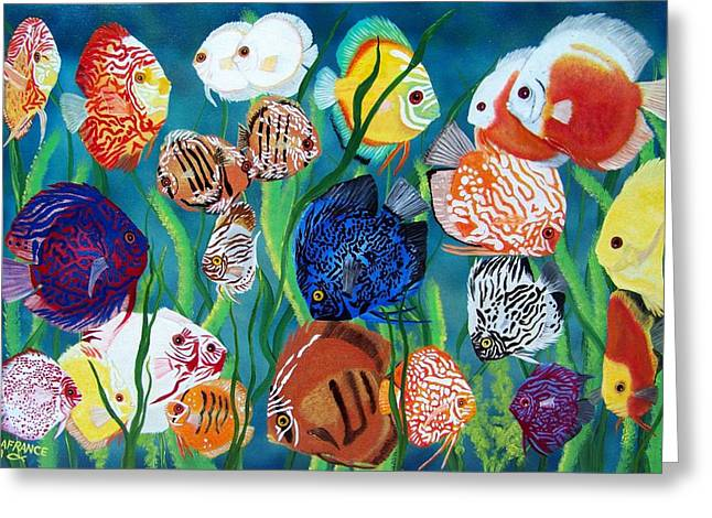 Discus Fantasy Greeting Card by Debbie LaFrance