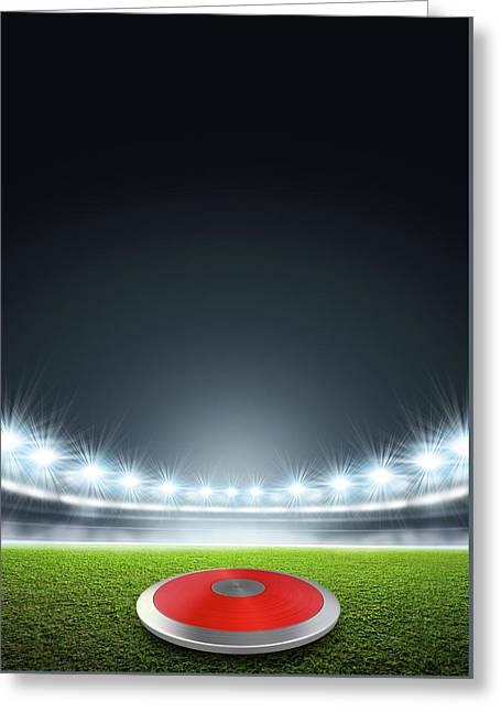 Discus In Generic Floodlit Stadium Greeting Card by Allan Swart