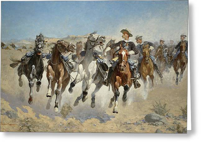 Dismounted The Fourth Troopers Moving The Led Horses Greeting Card by Frederic Remington