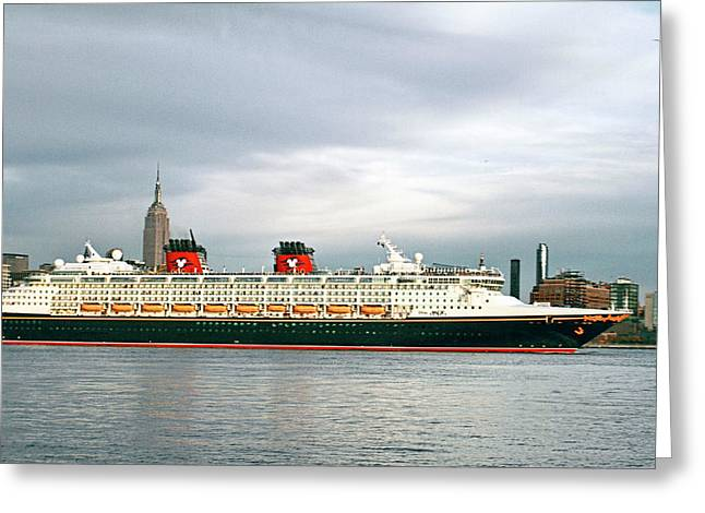 Disney Cruise Ship Leaving Ny Harbor Greeting Card