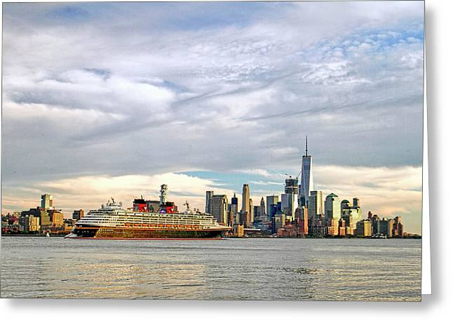 Disney Cruise Ship Passing Freedom Tower In New York City Greeting Card by Geraldine Scull