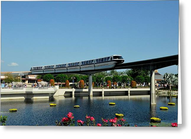 Disney Monorail Greeting Card by John Black