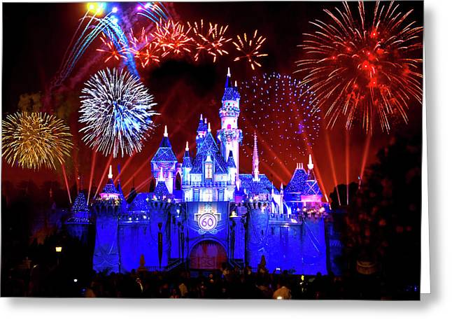 Disneyland 60th Anniversary Fireworks Greeting Card by Mark Andrew Thomas