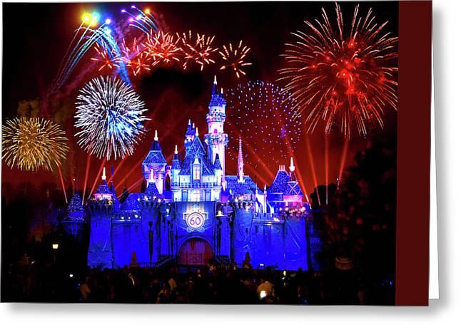 Disneyland 60th Anniversary Fireworks Greeting Card by Mark Andrew Thomas