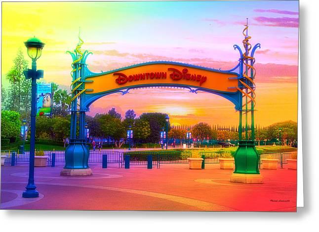 Disneyland Downtown Disney Signage Rainbow Greeting Card