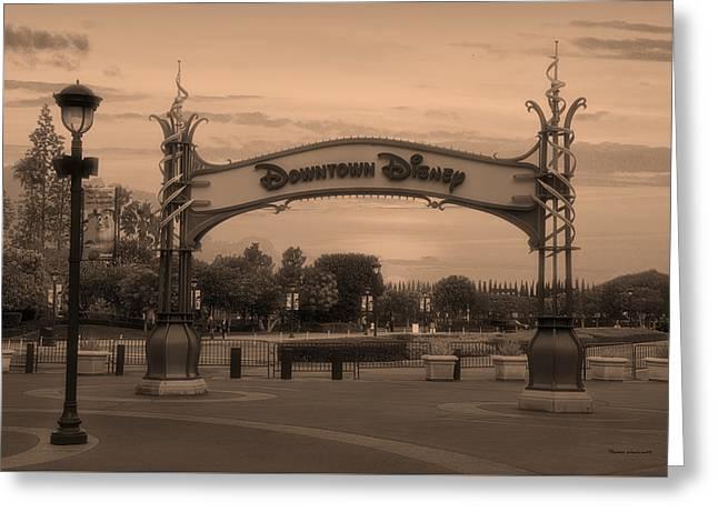 Disneyland Downtown Disney Signage Sepia Greeting Card