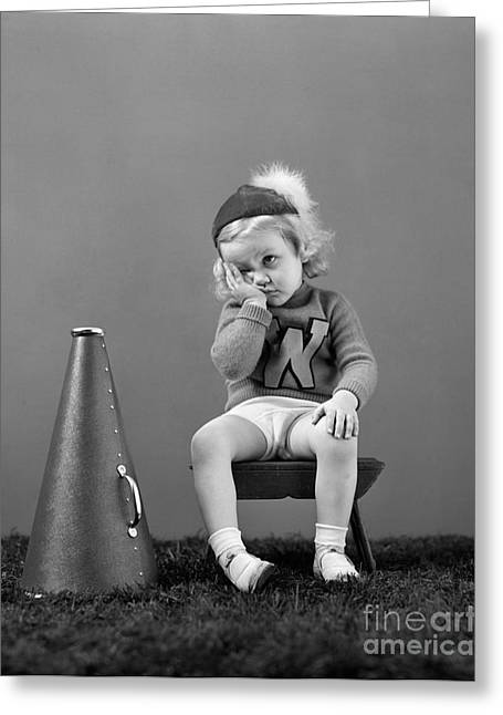 Dispirited Little Cheerleader, C.1940s Greeting Card by H. Armstrong Roberts/ClassicStock