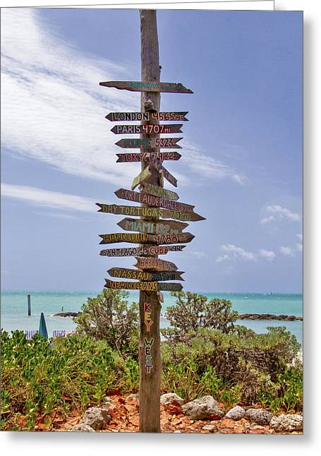 Distance From Key West Greeting Card