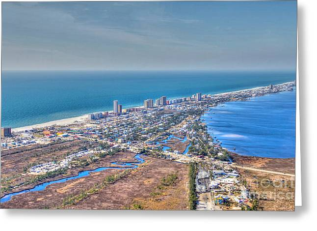 Distant Aerial View Of Gulf Shores Greeting Card