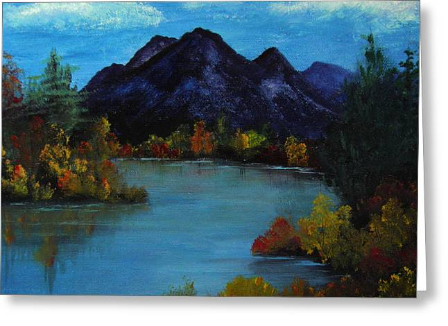 Distant Mountain View Greeting Card by Rhonda Myers