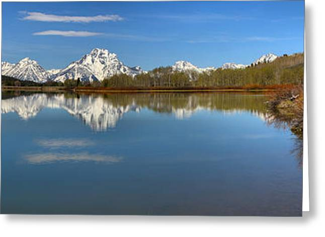 Distant Mt. Moran Reflections Greeting Card by Adam Jewell