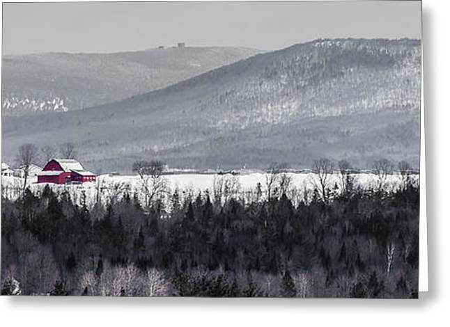Distant Red Barn Greeting Card