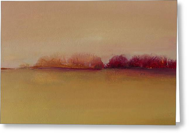 Distant Red Trees Greeting Card