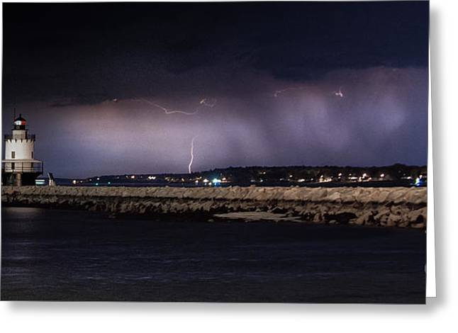 Maine Spring Greeting Cards - Distant storm Greeting Card by Scott Thorp