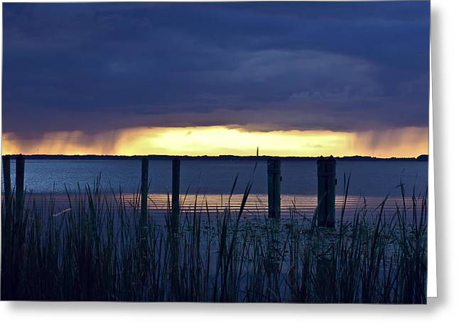 Distant Storms At Sunset Greeting Card by DigiArt Diaries by Vicky B Fuller