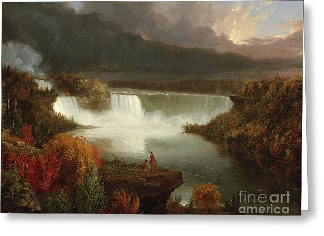Distant View Of Niagara Falls Greeting Card by Thomas Cole