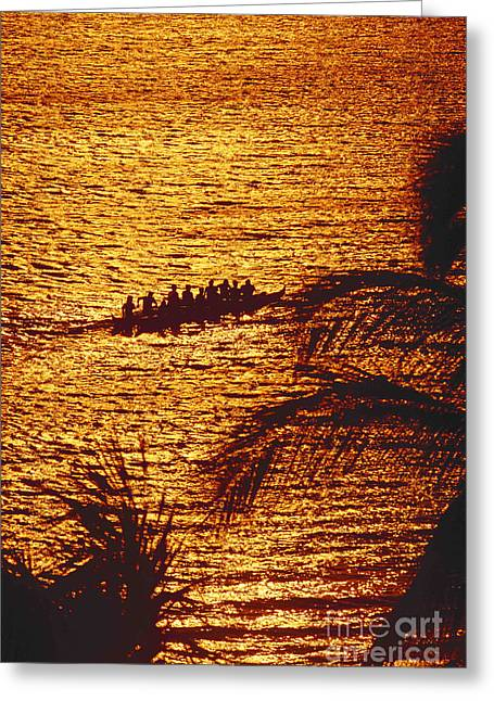Distant View Of Outrigger Greeting Card by Ron Dahlquist - Printscapes