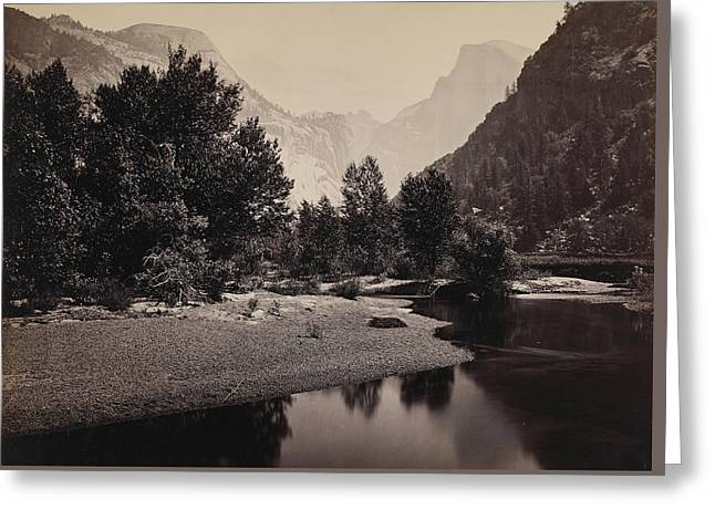 Distant View Of The Domes, Yosemite Valley, California Greeting Card by Carleton Emmons Watkins