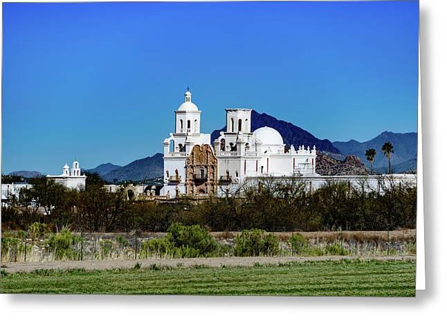 Distant View - San Xavier Mission - Tucson Arizona Greeting Card