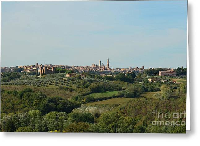 Distant Views Of Siena In Italy Greeting Card by DejaVu Designs
