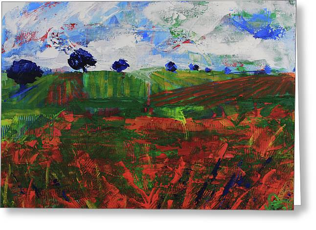 Greeting Card featuring the painting Distant Vineyards by Walter Fahmy