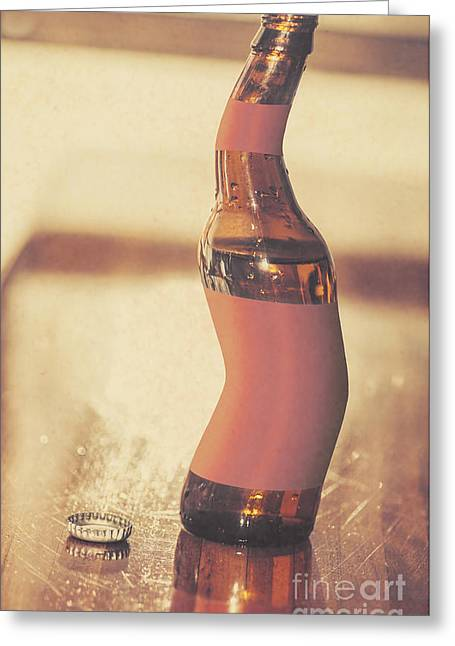 Distorted Beer Bottle Doing A Warped Dance Greeting Card by Jorgo Photography - Wall Art Gallery