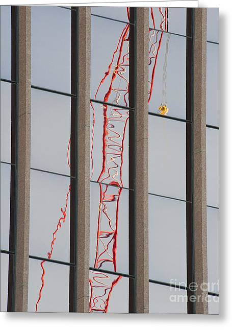 Distorted Reflection Of A Tower Crane Greeting Card by Thom Gourley/Flatbread Images, LLC