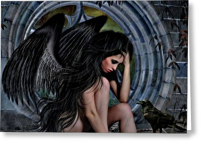Distress Angel02 Greeting Card by G Berry