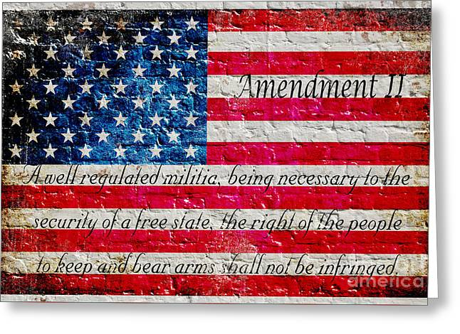Distressed American Flag And Second Amendment On White Bricks Wall Greeting Card