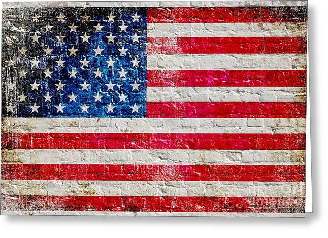 Distressed American Flag On Old Brick Wall - Horizontal Greeting Card by M L C