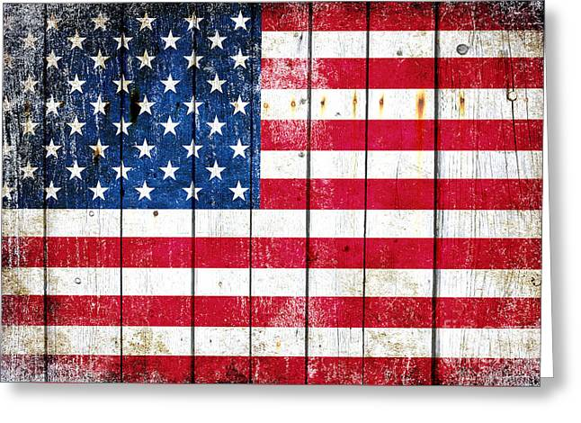 Distressed American Flag On Wood Planks - Horizontal Greeting Card by M L C