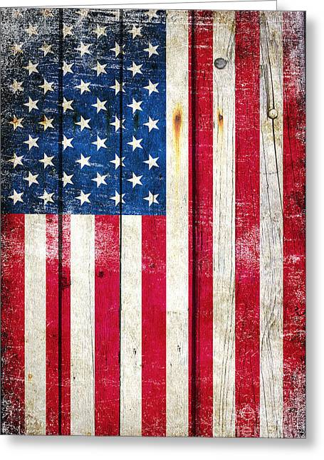 Distressed American Flag On Wood - Vertical Greeting Card