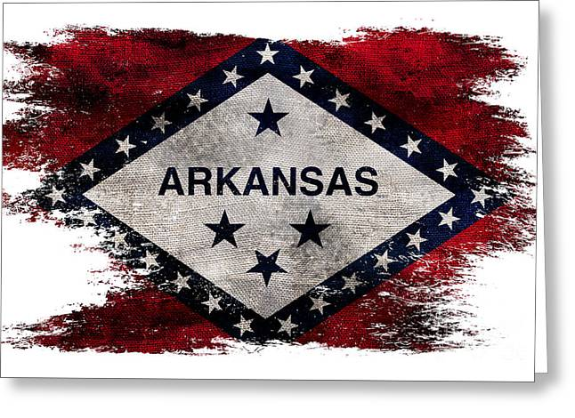 Distressed Arkansas Flag Greeting Card by Jon Neidert