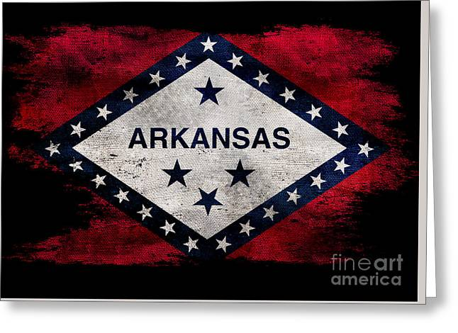 Distressed Arkansas Flag On Black Greeting Card by Jon Neidert